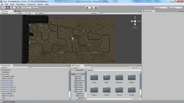 Un modelo jugable con edificios modelo y puntos de inicio