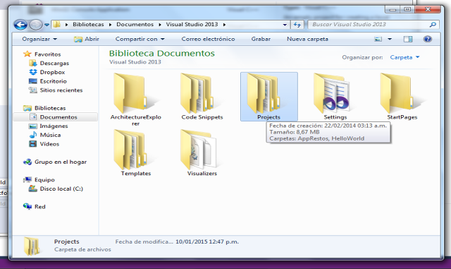 Directorio Visual Studio 2013