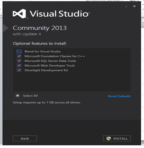 Componentes adicionales del Visual Studio