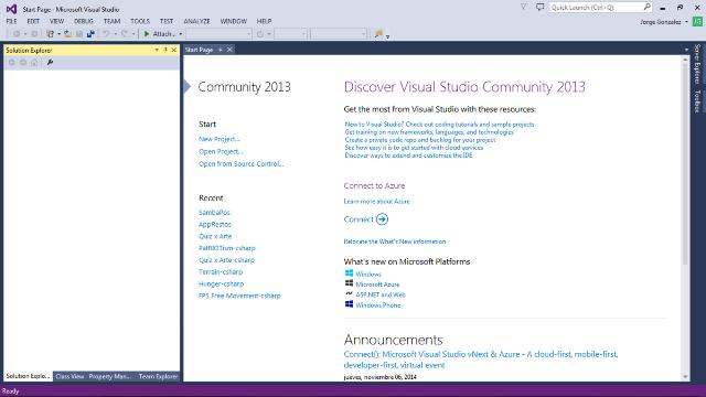 Visual Studio 2013 en ejecución