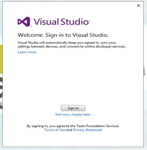 Uso de cuenta Visual Studio