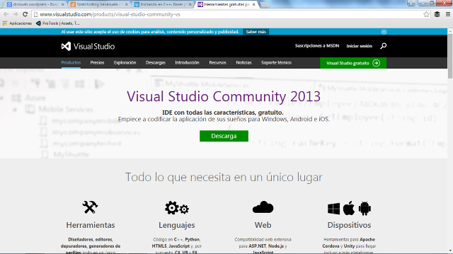 Sitio de descarga MS Visual Studio CE